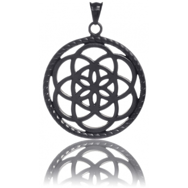 TRAUMFÄNGER Pendentif Attrape-rêves en acier noir motif fleur