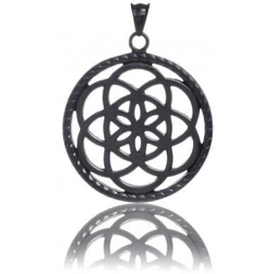 TRAUMFÄNGER Steel Pendant Black Dreamcatcher with floral motif