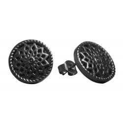 TRAUMFÄNGER Steel Earings Black Plated Dreamcatcher star motif