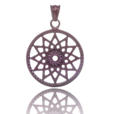 TRAUMFÄNGER Steel Pendant Brown Dreamcatcher with star motif