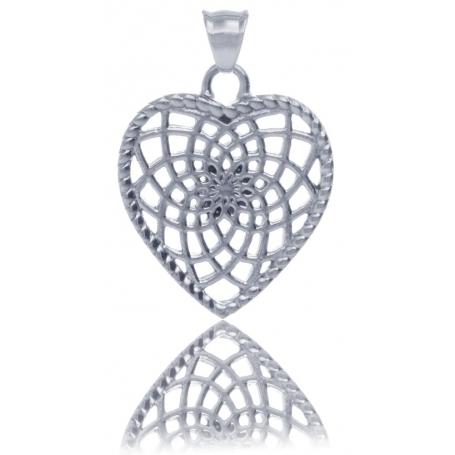 TRAUMFÄNGER Pendentif Attrape-rêves en acier inoxydable en forme de coeur