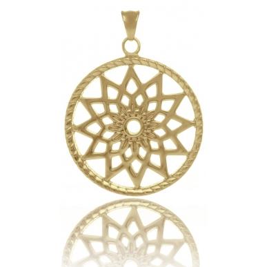 TRAUMFÄNGER Pendentif Attrape-rêves en acier doré jaune motif étoile