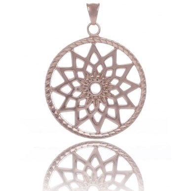 TRAUMFÄNGER Steel Pendant Rose Gold Plated Dreamcatcher with star motif