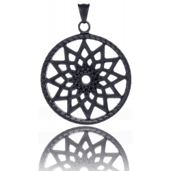 TRAUMFÄNGER Pendentif Attrape-rêves en acier noir motif étoile