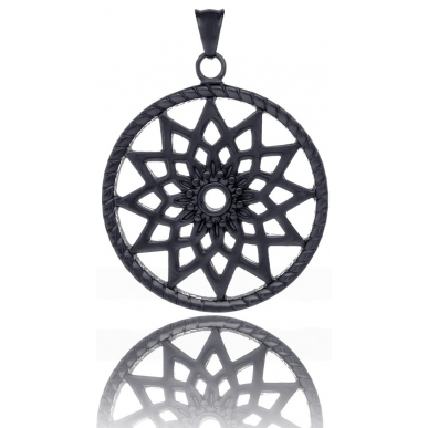 TRAUMFÄNGER Steel Pendant Black Dreamcatcher with star motif