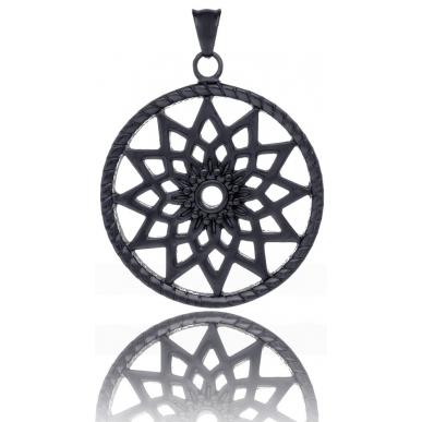 TRAUMFÄNGER Steel Pendant Black Dreamcatcher with star motif