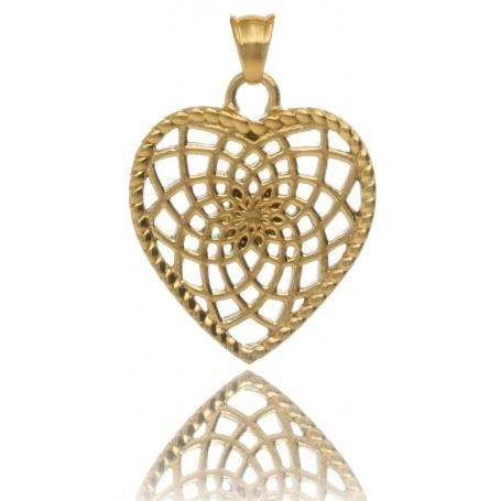 TRAUMFÄNGER Pendentif Attrape-rêves en acier doré jaune en forme de coeur