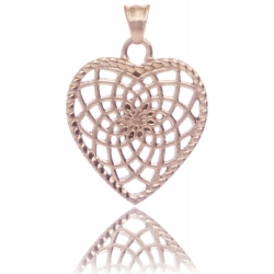 TRAUMFÄNGER Pendentif Attrape-rêves en acier doré rose en forme de coeur