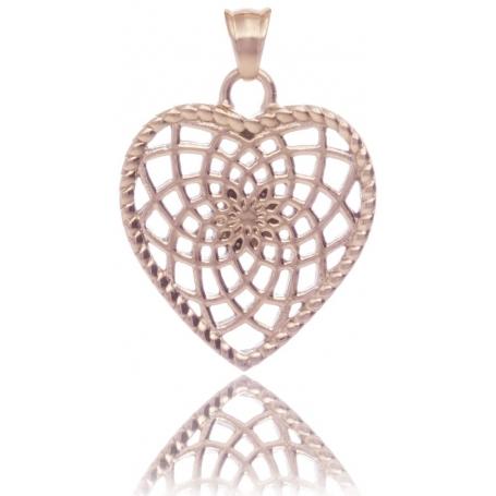 TRAUMFÄNGER Steel Pendant Rose Gold Plated  Heart-Shaped Dreamcatcher