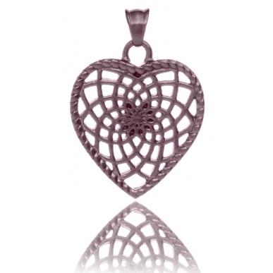 TRAUMFÄNGER Pendentif Attrape-rêves en acier brun en forme de coeur