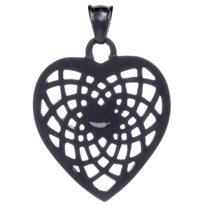 pendentif attrape r ves en acier noir en forme de coeur. Black Bedroom Furniture Sets. Home Design Ideas