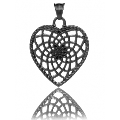 TRAUMFÄNGER Pendentif Attrape-rêves en acier noir en forme de coeur