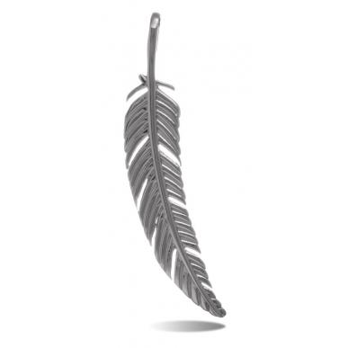 TRAUMFÄNGER Pendentif Plume en acier gris