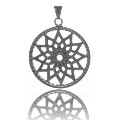 TRAUMFÄNGER Steel Pendant Grey Dreamcatcher with star motif