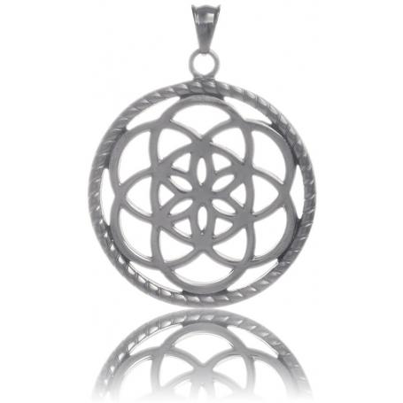 TRAUMFÄNGER Pendentif Attrape-rêves en acier gris motif fleur