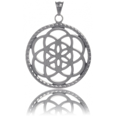 TRAUMFÄNGER Steel Pendant Grey Dreamcatcher with floral motif