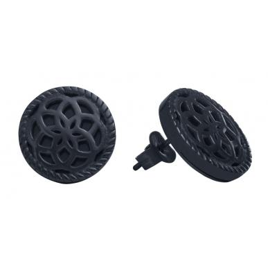 TRAUMFÄNGER Boucles d'oreilles Attrape-rêves en acier noir motif feur