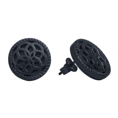 TRAUMFÄNGER Steel Earings Black Dreamcatcher with floral motif