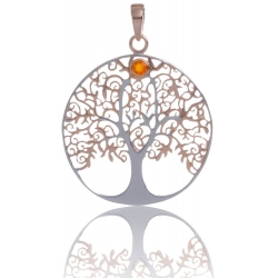 ANGELSVOICE Pendant 925 Tree of Life rose gold plated with red fire opal