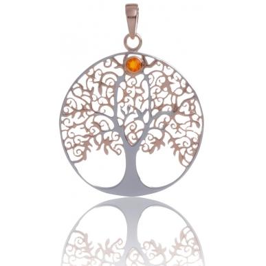 ANGELSVOICE Pendentif 925 arbre de vie doré rose avec opale rouge