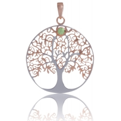 ANGELSVOICE Pendant 925 Tree of Life rose gold plated with peridot