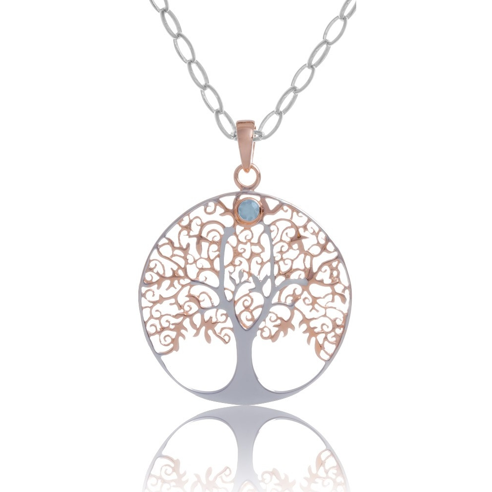 Pendant tree of life in silver rose gold plated with blue topaz stone angelsvoice pendant 925 tree of life rose gold plated with blue topaz aloadofball Choice Image