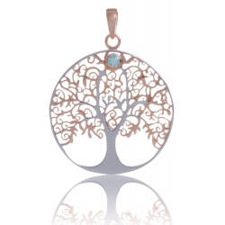 ANGELSVOICE Pendant 925 Tree of Life rose gold plated with blue topaz