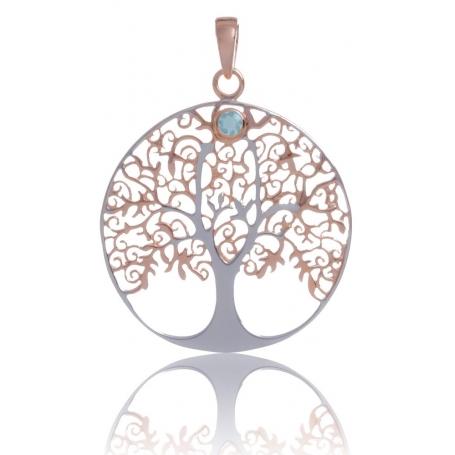 ANGELSVOICE Pendentif 925 arbre de vie doré rose avec topaze bleue