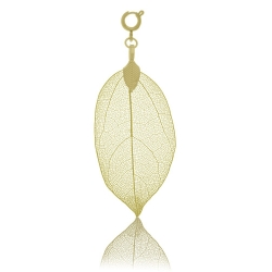 BLUMENKIND Stainless Steel Yellow Gold Plated Pendant Leaf