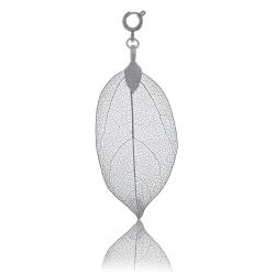 BLUMENKIND Stainless Steel Dark Grey Pendant Leaf