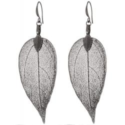 BLUMENKIND Boucles d'oreilles Feuille en acier gris foncé