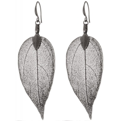 BLUMENKIND Stainless Steel Dark Grey Earings Leaf