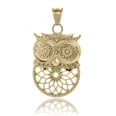 TRAUMFÄNGER Steel Yellow Gold Plated Pendant Dreamcatcher Owl
