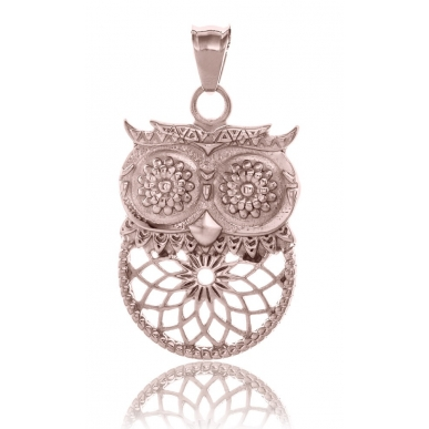 TRAUMFÄNGER Steel Rose Gold Plated Pendant Dreamcatcher Owl