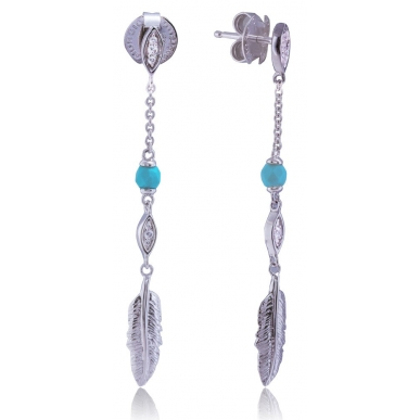 Giorgio Martello Silver Earrings Feathers