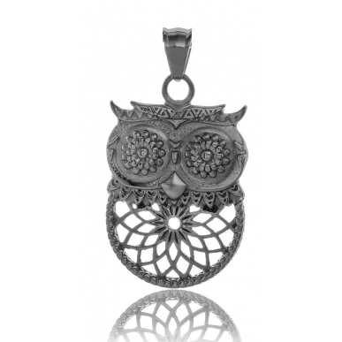 TRAUMFÄNGER Steel Pendant Grey Dreamcatcher Owl