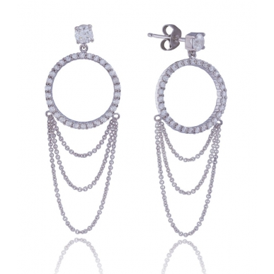 Giorgio Martello Drop-Shaped Silver Earrings