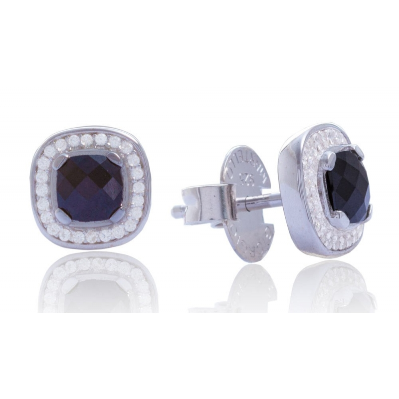 shaped cubic zirconia sterling silver square products earrings real cz