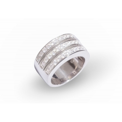 Giorgio Martello Silver Ring with two rows of white zirconias