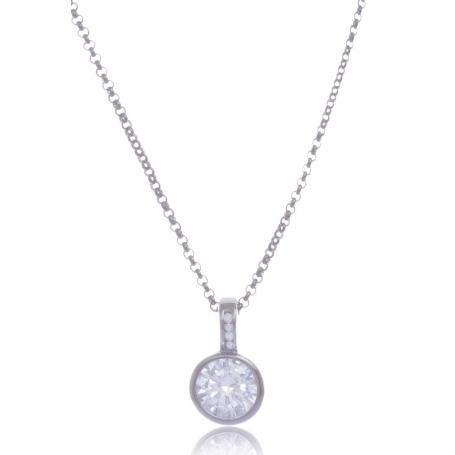 Giorgio Martello Solitaire Silver Necklace