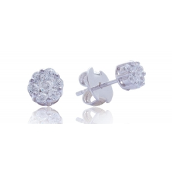 Giorgio Martello Flower Silver Earrings with zirconia griffe setting