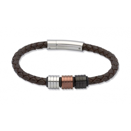 UNIQUE Bracelet en cuir tressé brun foncé avec acier