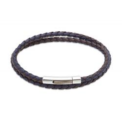 UNIQUE Bracelet en cuir tressé brun foncé et bleu avec acier