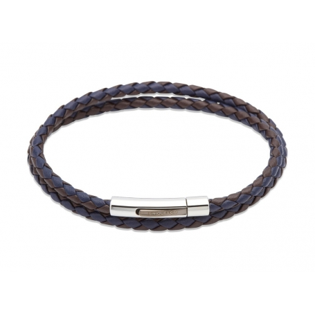 UNIQUE Dark brown and blue plaited leather bracelet with steel