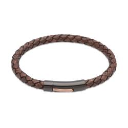 UNIQUE Bracelet en cuir tressé brun foncé antique avec acier