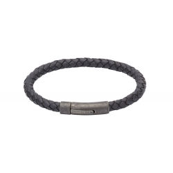 UNIQUE Navy plaited leather bracelet with steel