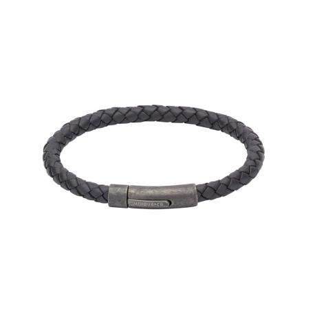 UNIQUE Bracelet en cuir tressé bleu marine avec acier