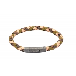 UNIQUE Camouflage plaited leather bracelet with steel