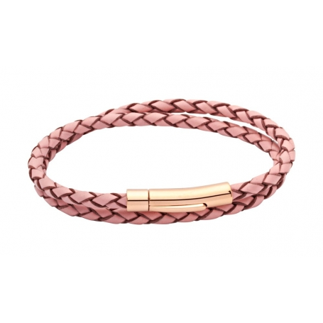 UNIQUE Pink plaited leather bracelet with steel