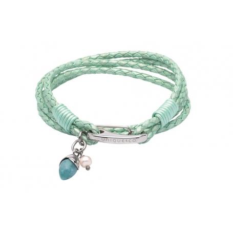 UNIQUE Bracelet en cuir tressé vert clair avec acier